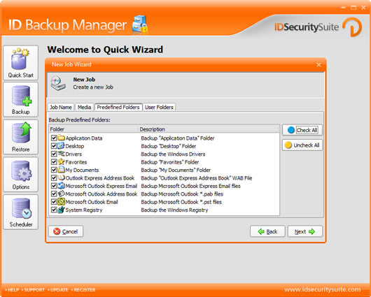 ID Backup Manager provides data backup.
