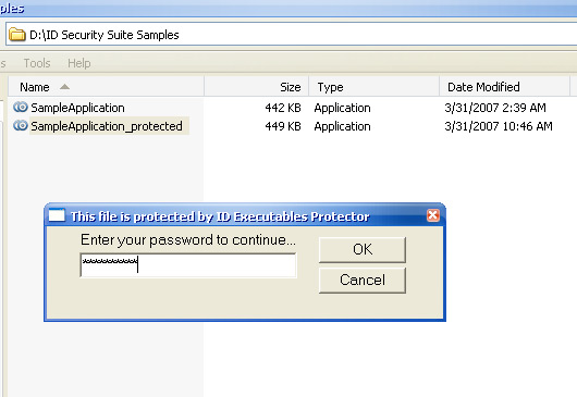 ID Executable Password Screenshot