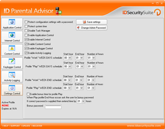 ID Parental Advisor Screenshot