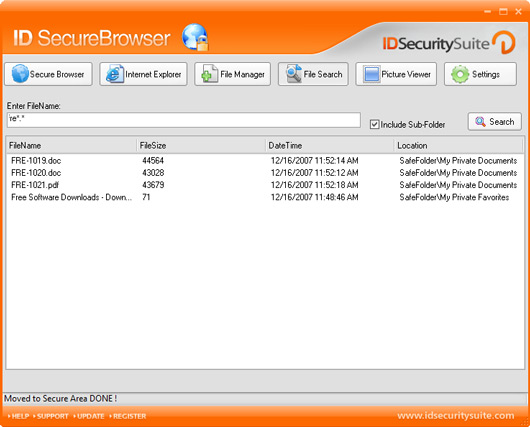 ID Secure Browser Screenshot