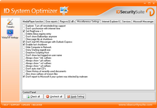ID System Optimizer Screenshot