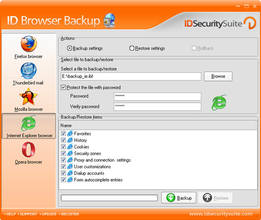 ID Browser Backup Screenshot