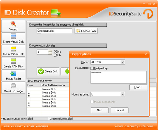 ID Disk Creator allows virtual drive creation.