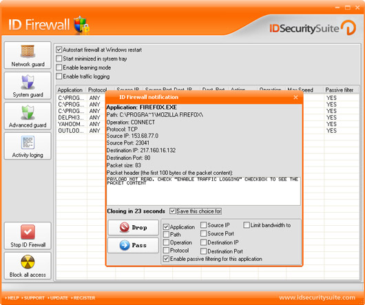 ID Firewall is a specialized firewall application.