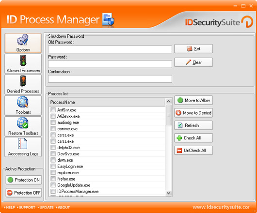 ID Process Manager screenshot