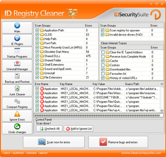 Click to view ID Registry Cleaner 1.2 screenshot